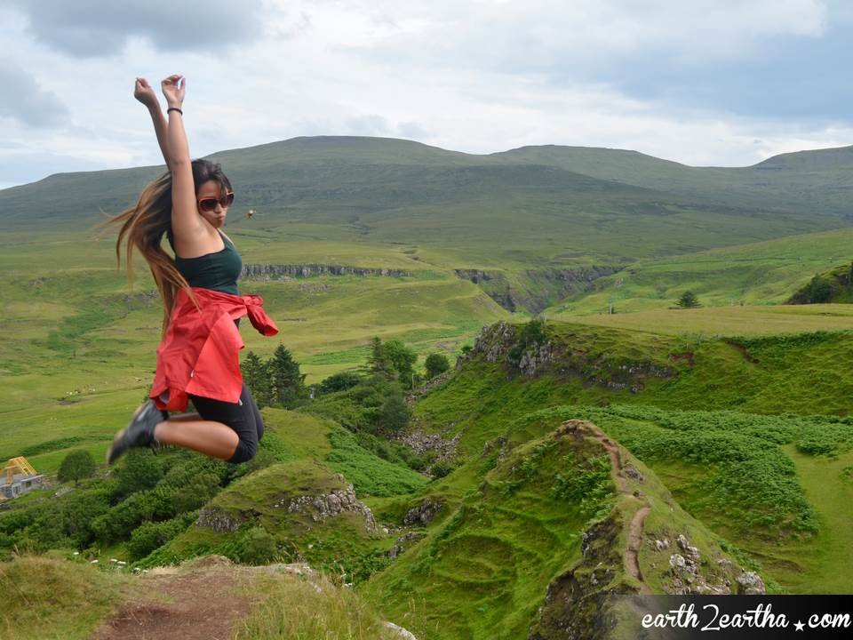Fron angle jump shot at Fairy Glen, Isle of Skye, Scotland