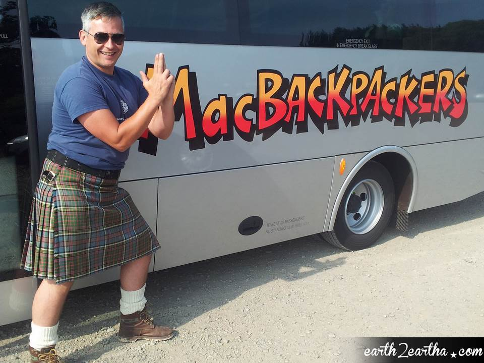 MacBackpackers' Guide Graeme, Scotsman in kilt.