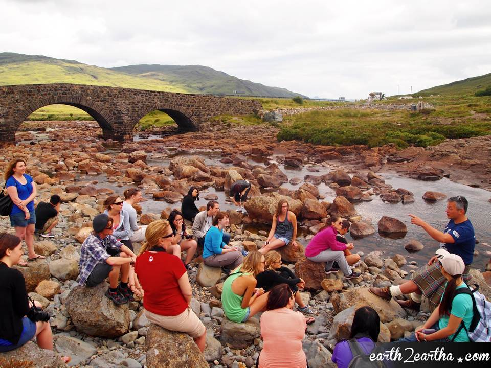 MacBackpackers story time, Sligachan Bridge, Isle of Skye. Scotland