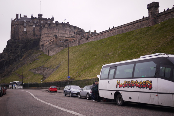 MacBackpackers in front of Edinburgh Castle
